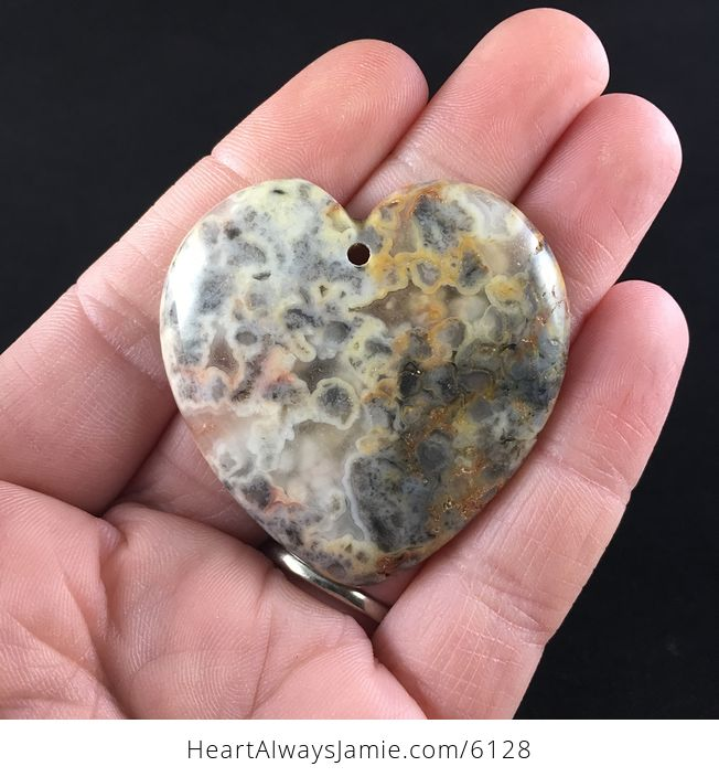 Heart Shaped Crazy Lace Agate Stone Jewelry Pendant - #BpsksJ2Dmvw-1