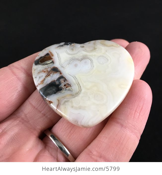 Heart Shaped Crazy Lace Agate Stone Jewelry Pendant - #oyLUNUHefEw-2