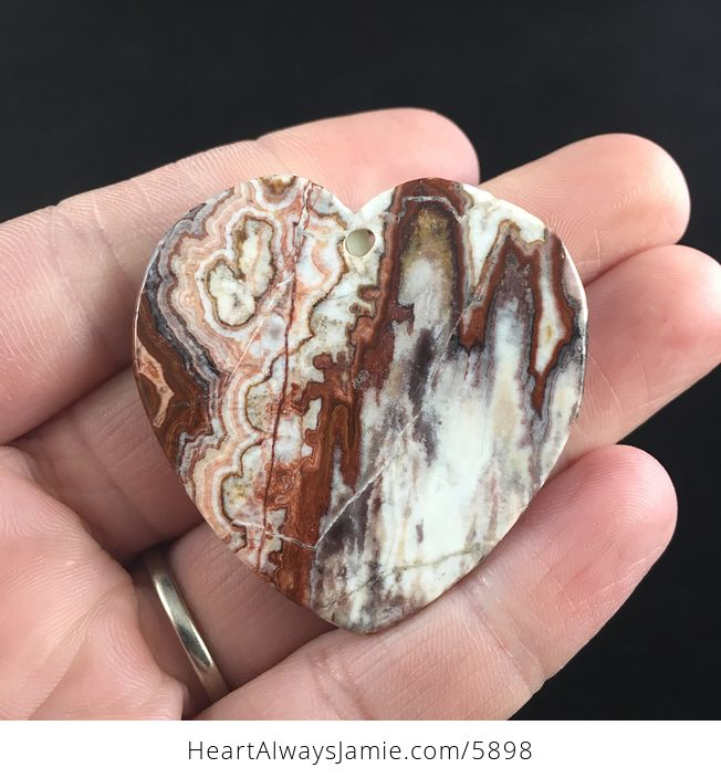 Heart Shaped Crazy Lace Agate Stone Jewelry Pendant - #pJDqGrrKoqk-6