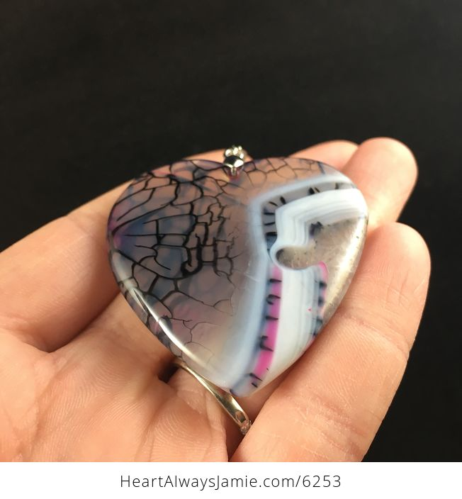 Heart Shaped Dragon Veins Agate Stone Jewelry Pendant - #bnJo8FnQUfs-2