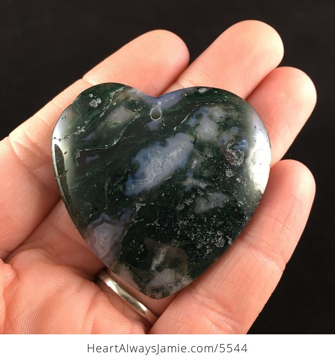 Heart Shaped Drusy Moss Agate Stone Jewelry Pendant - #INYDFxvBtDg-1