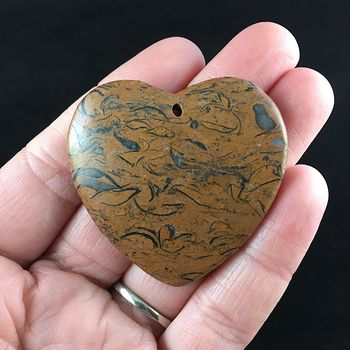 Heart Shaped Elephant Skin Jasper Calligraphy or Miriam Stone Jewelry Pendant #TmR52VjBqzE