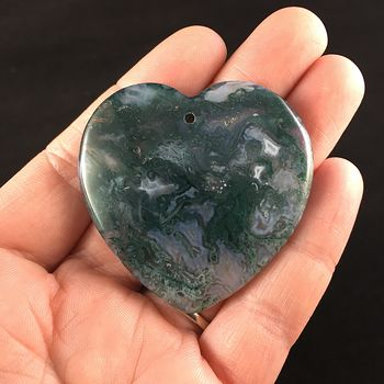 Heart Shaped Moss Agate Stone Jewelry Pendant #CafZcs1Tj28
