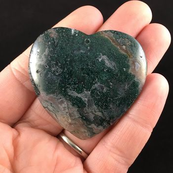 Heart Shaped Moss Agate Stone Jewelry Pendant #DS8YT7SbZhU