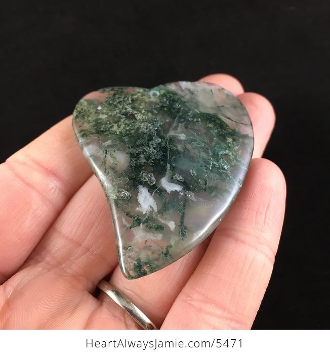 Heart Shaped Moss Agate Stone Jewelry Pendant - #oywrGwQhQAY-2
