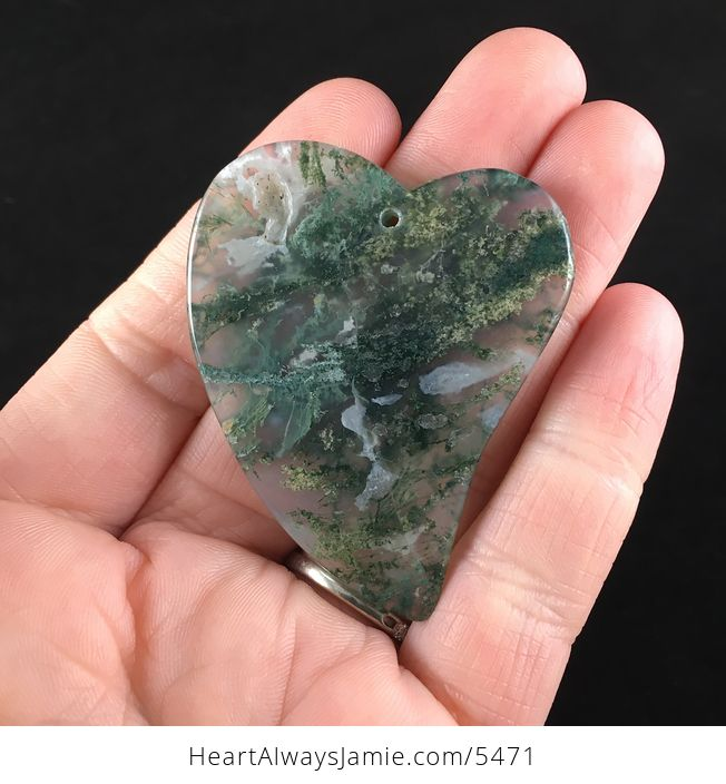 Heart Shaped Moss Agate Stone Jewelry Pendant - #oywrGwQhQAY-6