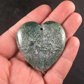 Heart Shaped Natural Green Moss Agate Stone Jewelry Pendant #jqwOqD6gDVY