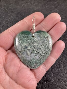 Heart Shaped Natural Green Moss Agate Stone Jewelry Pendant #yBYrH3xAFz0