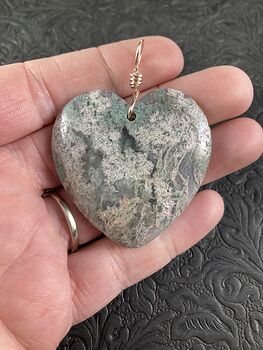 Heart Shaped Natural Moss Agate Stone Jewelry Pendant #7Wq03hKYGV8