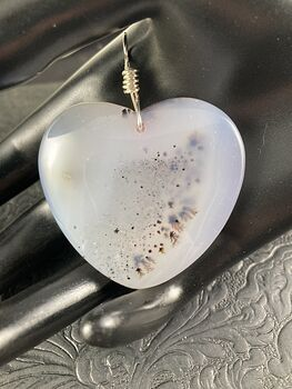 Heart Shaped Natural Ocean Marine Chalcedony Stone Pendant Jewelry #Zb9C7S3hzAQ