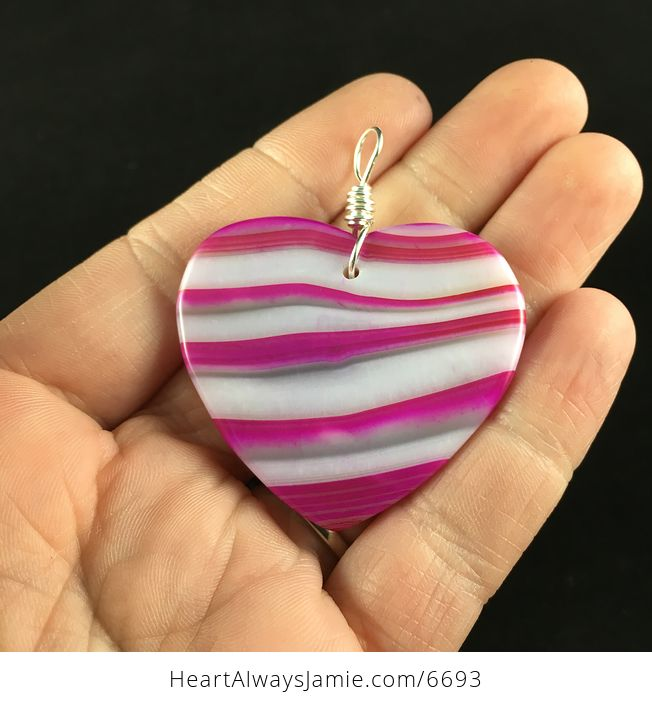 Heart Shaped Pink and White Agate Stone Jewelry Pendant - #DaYiC23dp2M-6