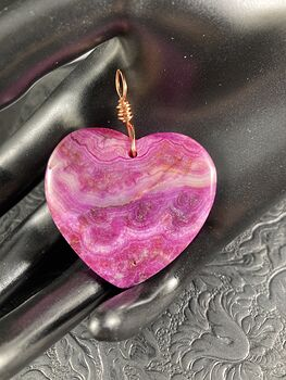 Heart Shaped Pink Crazy Lace Mexican Agate Stone Jewelry Pendant #B2DllOyIJpQ