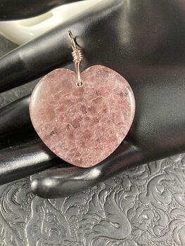 Heart Shaped Pink Strawberry Quartz Stone Jewelry Pendant #sZywQ2jwL4M