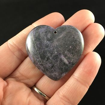 Heart Shaped Purple Nipomo Coral Fossil Stone Jewelry Pendant #usIQ2ui1b40
