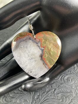 Heart Shaped Rainbow Jasper Druzy Stone Jewelry Pendant #C8wG0Eg6sGg
