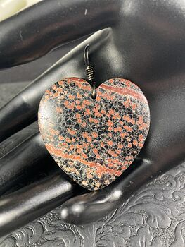 Heart Shaped Red and Black Starry Night Firecracker or Flower Obsidian Stone Jewelry Pendant #MtrHNV073fs