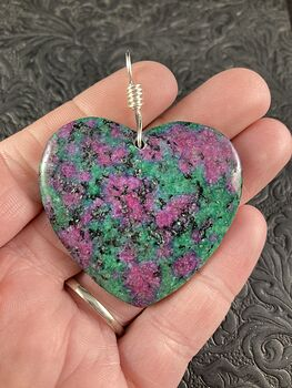 Heart Shaped Ruby in Zoisite Anyolite Stone Jewelry Pendant Necklace #ImEB8PJ2AqE