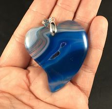 Heart Shaped Semi Transparent and Blue Druzy Agate Stone Pendant #NP1VWCP1BXc
