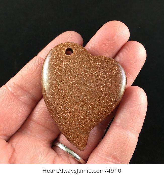 Heart Shaped Sparkly Goldstone Pendant Jewelry - #8y2CTmvONSg-1