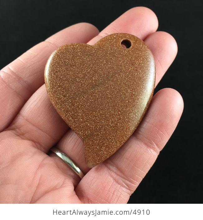 Heart Shaped Sparkly Goldstone Pendant Jewelry - #8y2CTmvONSg-5
