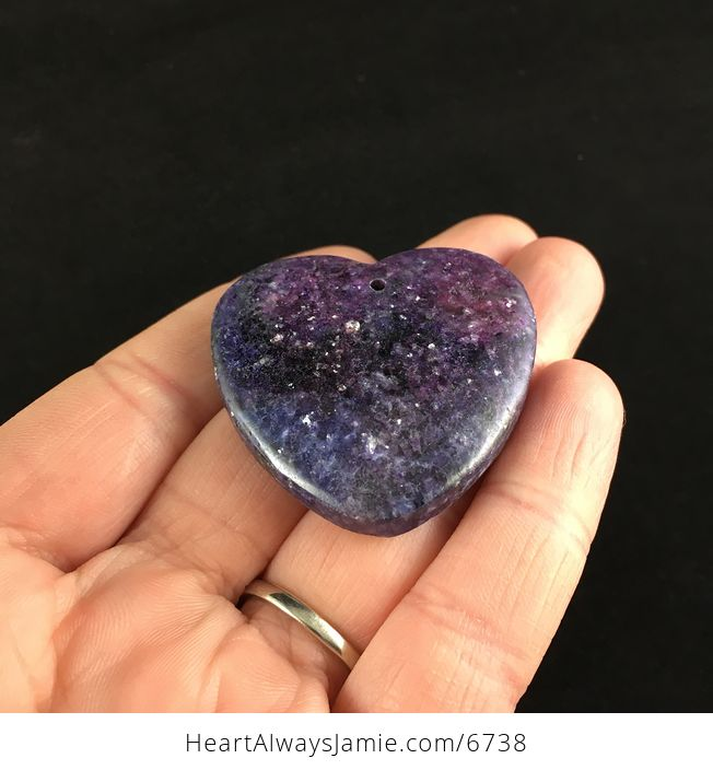 Heart Shaped Sparkly Lepidolite Stone Jewelry Pendant - #6UV1exaACW0-2