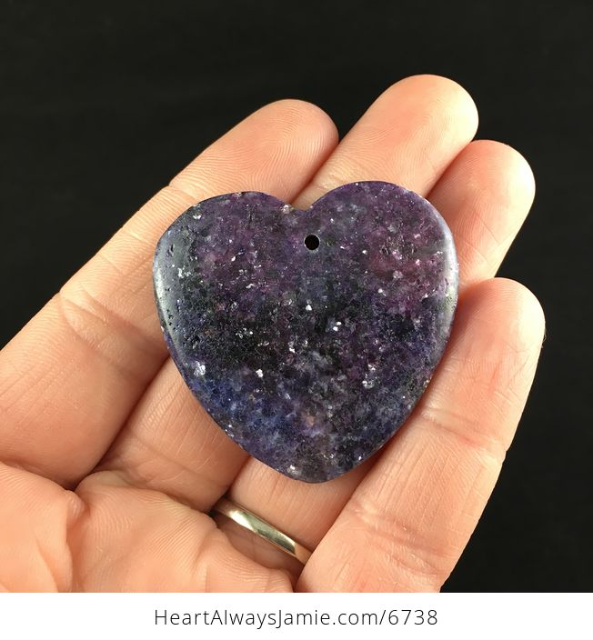 Heart Shaped Sparkly Lepidolite Stone Jewelry Pendant - #6UV1exaACW0-1