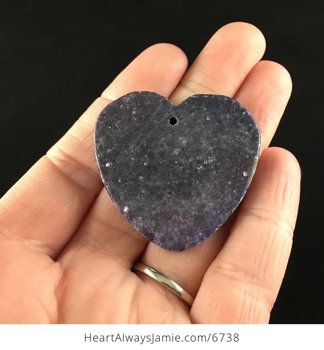Heart Shaped Sparkly Lepidolite Stone Jewelry Pendant - #6UV1exaACW0-6