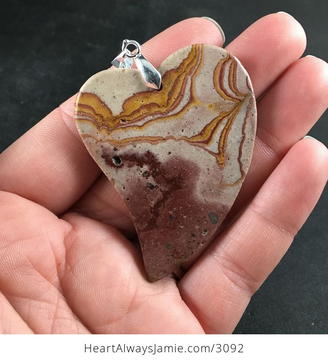Heart Shaped Stone Pendant Necklace - #0UZZfgsJza4-2