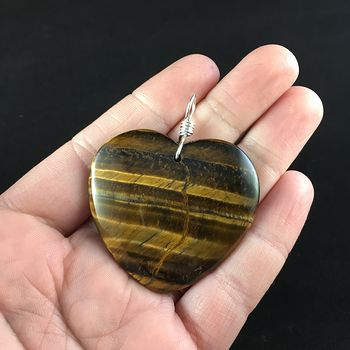 Heart Shaped Tiger Eye Stone Jewelry Pendant #C2HmzOSZing