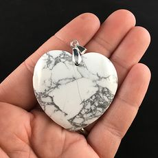 Heart Shaped White and Gray Howlite Stone Jewelry Pendant #N5n5t9u5VC0