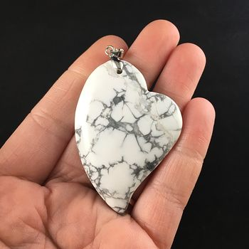 Heart Shaped White Howlite Stone Jewelry Pendant #Ylol0QIO7K4