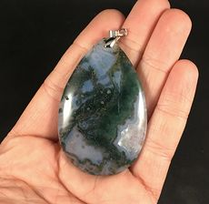 Large Green and White Druzy Moss Agate Stone Pendant #CygHVOiWens