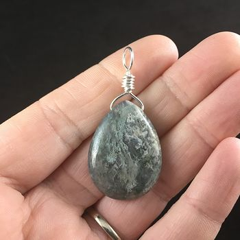 Natural Green Moss Agate Stone Jewelry Pendant #Ik4tDNitiIk