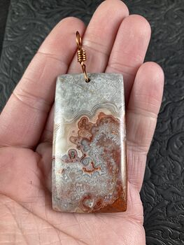 Natural Mexico Rectangular Crazy Lace Agate Stone Pendant Jewelry #n2GG2ONZ1OY