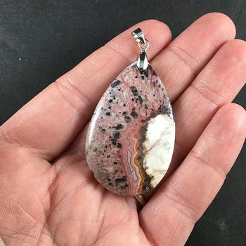 Natural Pink Brown and Beige Crazy Lace Agate Stone Pendant Necklace Jewelry #hGSKlprDHeg