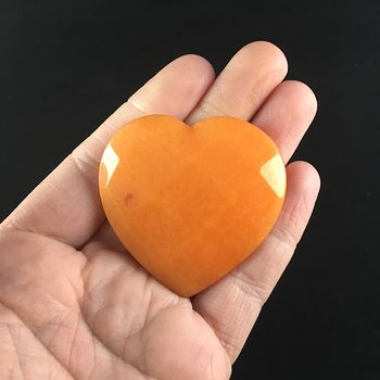 Orange Jade Stone Faceted Heart Shaped Cabochon #H5NgKDznl3Q