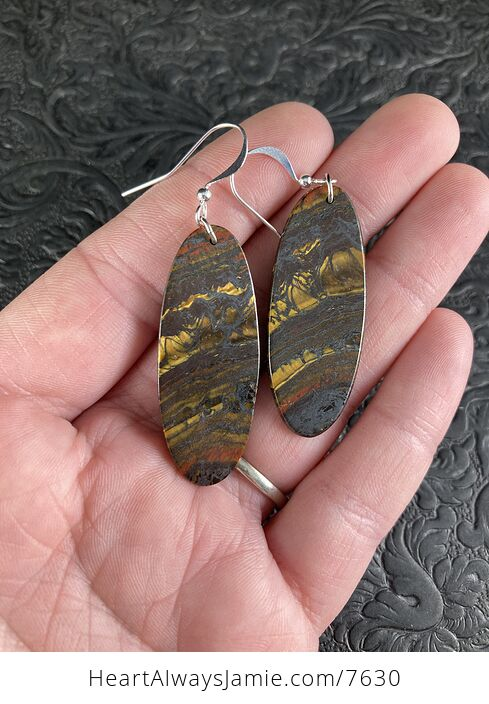 Oval Australian Tiger Eye Stone Jewelry Earrings - #HMr5na3mSPY-1