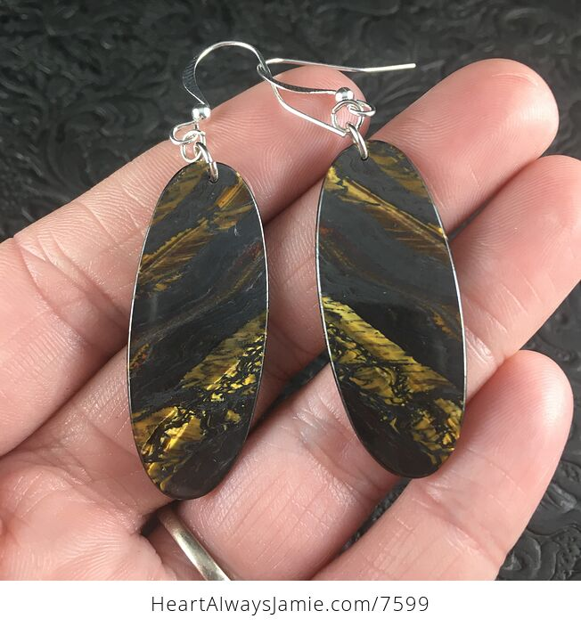 Oval Australian Tiger Eye Stone Jewelry Earrings - #WuCsv1DZpjU-2