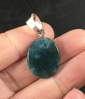 Oval Shaped Bluish Green Moss Agate Stone Pendant Necklace #y6W36a3pdtU