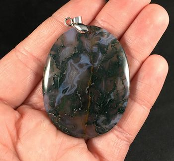 Oval Shaped Gray and Dark Green Moss Agate Stone Pendant Necklace #7rQXYIdvblo