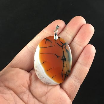 Oval Shaped White Druzy Black and Orange Dragon Veins Agate Stone Jewelry Pendant #CGHv2TxGLK4