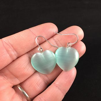 Pastel Green Heart Shaped Cats Eye Stone Jewelry Earrings #aEedywRkM4I
