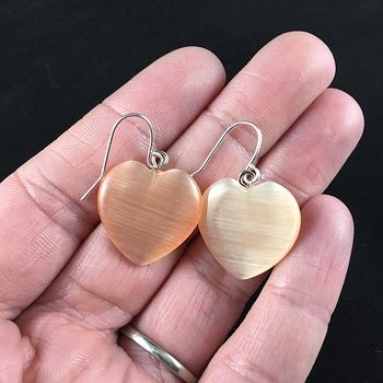 Pastel Orange Heart Shaped Cats Eye Stone Jewelry Earrings #t2GHBe0mDjI
