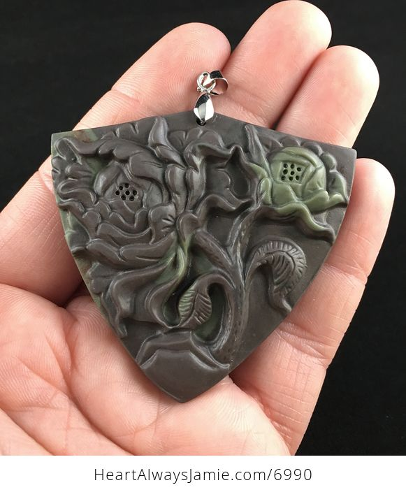Peony Flower Carved Ribbon Jasper Stone Pendant Jewelry - #NqDJEU0Kf3Q-1