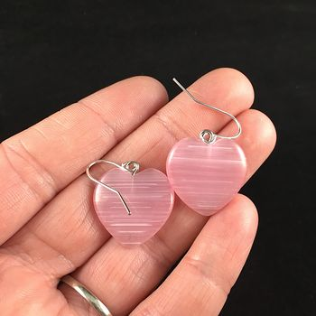Pink Cat Eye Heart Stone Earrings #xMAXUdHHrBU