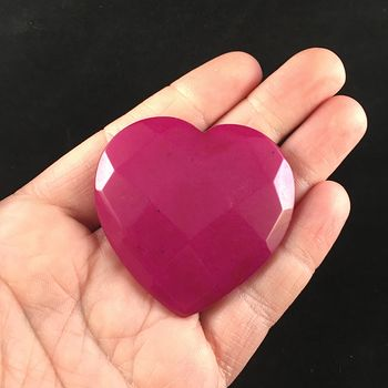 Pink Jade Stone Faceted Heart Shaped Cabochon #L8q0vfLcaQs