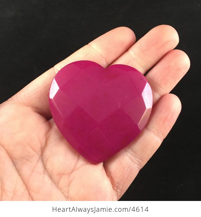 Pink Jade Stone Faceted Heart Shaped Cabochon - #L8q0vfLcaQs-1