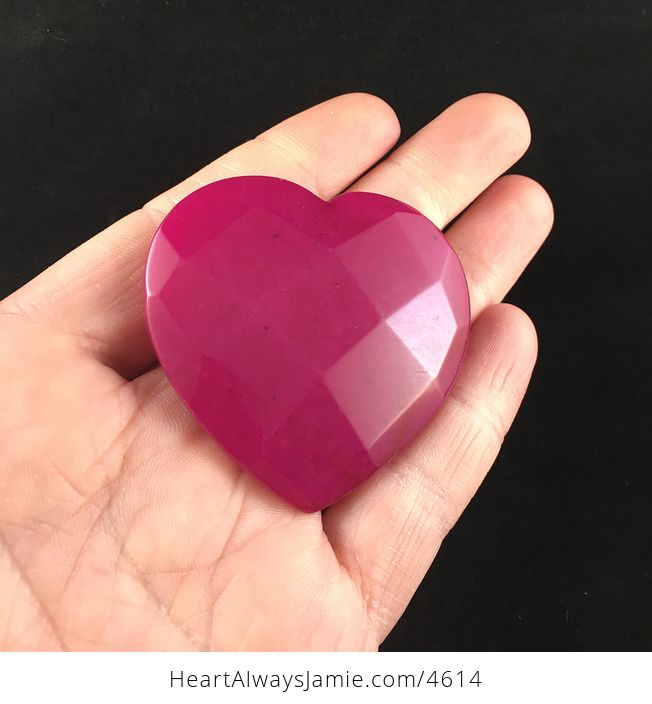 Pink Jade Stone Faceted Heart Shaped Cabochon - #L8q0vfLcaQs-2
