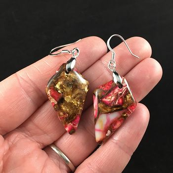 Pink Jasper and Copper Bornite Diamond Shaped Stone Jewelry Earrings #eNez6MDIvno