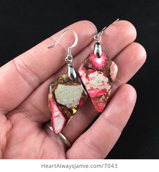 Pink Jasper and Copper Bornite Diamond Shaped Stone Jewelry Earrings - #TapptzMjfME-3